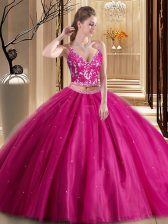 Adorable Hot Pink Lace Up Spaghetti Straps Beading and Appliques 15 Quinceanera Dress Tulle Sleeveless