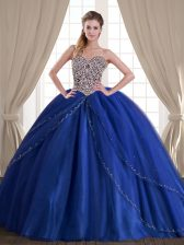 Low Price Sleeveless Brush Train Lace Up With Train Beading Quince Ball Gowns