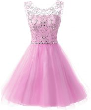 Lilac A-line Chiffon Scoop Sleeveless Beading Knee Length Zipper Prom Evening Gown