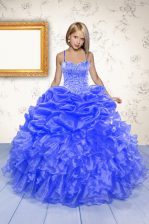 Blue Lace Up Kids Pageant Dress Beading and Ruffles and Pick Ups Sleeveless Floor Length