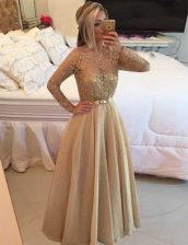 Long Sleeves Floor Length Beading and Lace Zipper Prom Party Dress with Champagne