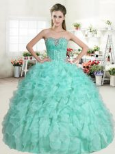 Enchanting Sleeveless Beading and Ruffles Lace Up 15 Quinceanera Dress