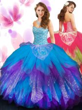 Nice Sleeveless Tulle Floor Length Lace Up Quinceanera Gowns in Multi-color with Beading and Ruffled Layers