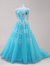 Free and Easy Aqua Blue A-line Tulle Off The Shoulder Cap Sleeves Beading and Appliques Lace Up Homecoming Dress