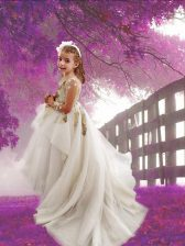 Fitting Scoop Long Sleeves Tulle Toddler Flower Girl Dress Appliques Court Train Zipper