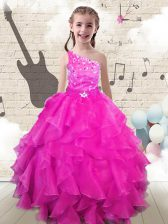 One Shoulder Floor Length Lace Up Little Girl Pageant Gowns Hot Pink for Party and Wedding Party with Beading and Ruffles