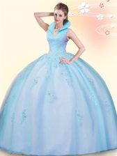 Sleeveless Backless Floor Length Beading and Appliques 15 Quinceanera Dress