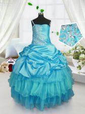 Gorgeous Pick Ups Strapless Sleeveless Lace Up Kids Pageant Dress Aqua Blue Organza