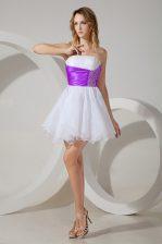 White And Purple Zipper Strapless Beading Dama Dress Organza Sleeveless