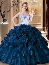 Sleeveless Floor Length Pick Ups Lace Up 15th Birthday Dress with Teal