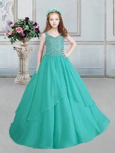 Luxurious Straps Turquoise Sleeveless Beading Floor Length Kids Pageant Dress