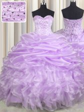 Lavender Sleeveless With Train Beading and Ruffles and Pick Ups Lace Up Sweet 16 Dress