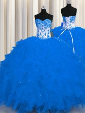 On Sale Sleeveless Organza Floor Length Lace Up Quinceanera Dress in Royal Blue with Appliques and Ruffles