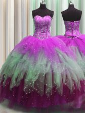 Visible Boning Beading and Ruffles and Sequins Ball Gown Prom Dress Multi-color Lace Up Sleeveless Floor Length