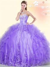 Sleeveless Tulle Floor Length Lace Up Vestidos de Quinceanera in Lavender with Beading and Appliques and Ruffles