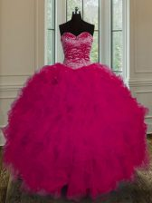 Exquisite Fuchsia Ball Gowns Sweetheart Sleeveless Tulle Floor Length Lace Up Beading and Ruffles 15th Birthday Dress