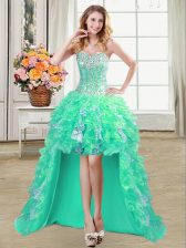 Popular Sequins A-line Prom Party Dress Turquoise Sweetheart Organza Sleeveless High Low Lace Up