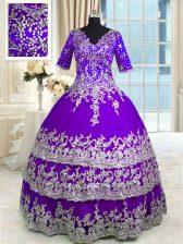 Pretty Ruffled Floor Length Purple Quinceanera Gowns V-neck Half Sleeves Zipper