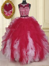 Scoop Beading and Ruffles Quince Ball Gowns White And Red Zipper Sleeveless Floor Length