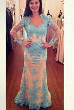 Noble White and Blue Long Sleeves Chiffon Brush Train Zipper Prom Party Dress for Prom and Party