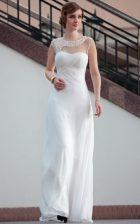 Fine White Zipper Prom Dresses Beading and Lace Sleeveless Floor Length