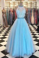 Pretty Halter Top Sleeveless Zipper Prom Party Dress Blue Tulle