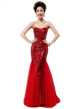 Deluxe Mermaid Wine Red Prom Dress Sequined Sleeveless Sequins