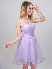 Scoop Sleeveless Mini Length Lace and Appliques and Belt Lace Up Vestidos de Damas with Lavender