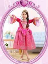 Scoop 3 4 Length Sleeve Flower Girl Dress Tea Length Sequins Hot Pink Sequined