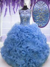 Chic Baby Blue Quinceanera Gowns Military Ball and Sweet 16 and Quinceanera with Beading and Ruffles Scoop Sleeveless Lace Up