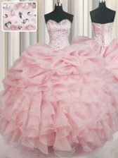 Floor Length Ball Gowns Sleeveless Baby Pink Quinceanera Gowns Lace Up