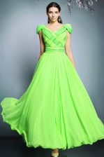 Super Short Sleeves Chiffon Floor Length Backless Prom Evening Gown in with Pattern