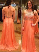 Orange Backless Scoop Beading Prom Gown Chiffon Sleeveless Brush Train