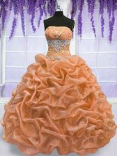 Charming Floor Length Orange Quinceanera Dresses Strapless Sleeveless Lace Up