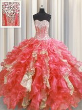 Visible Boning Organza and Sequined Sweetheart Sleeveless Lace Up Beading and Ruffles and Sequins Vestidos de Quinceanera in Watermelon Red