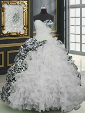 White Ball Gowns Beading and Ruffles and Pattern Ball Gown Prom Dress Lace Up Organza and Printed Sleeveless With Train