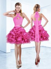 Halter Top Ruffles and Ruching and Belt Dress for Prom Hot Pink Zipper Sleeveless Mini Length