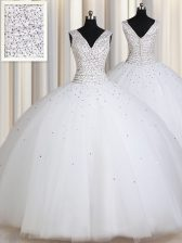 Beauteous White Zipper Straps Beading and Sequins Quinceanera Gown Tulle Sleeveless