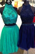Knee Length Turquoise Prom Dress Tulle Sleeveless Beading