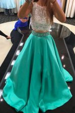 Turquoise A-line Scoop Sleeveless Satin With Train Zipper Beading and Lace Prom Party Dress