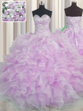 Lilac Ball Gown Prom Dress Military Ball and Sweet 16 and Quinceanera with Beading and Ruffles Sweetheart Sleeveless Lace Up