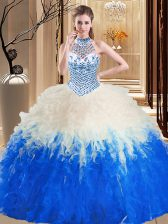 Latest Halter Top Blue And White Sleeveless Tulle Lace Up Ball Gown Prom Dress for Military Ball and Sweet 16 and Quinceanera