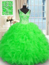Glamorous Ball Gowns Quinceanera Dress Green V-neck Organza Sleeveless Floor Length Zipper