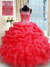 Luxurious Straps Coral Red Ball Gowns Beading and Ruffles and Pick Ups 15th Birthday Dress Zipper Organza Sleeveless Floor Length