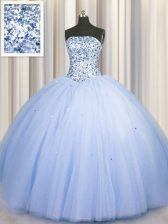 Perfect Big Puffy Beading and Sequins 15th Birthday Dress Blue Lace Up Sleeveless Floor Length