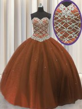 Exceptional Brown Ball Gowns Beading and Sequins Vestidos de Quinceanera Lace Up Tulle Sleeveless Floor Length
