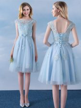 Hot Sale Knee Length Light Blue Quinceanera Court Dresses Scoop Cap Sleeves Lace Up