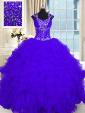 Beauteous Straps Cap Sleeves Lace Up Sweet 16 Dresses Purple Organza