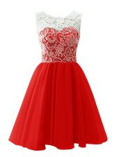 Red Scoop Neckline Lace Prom Party Dress Sleeveless Clasp Handle