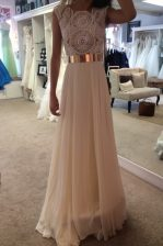 Scoop Champagne Zipper Prom Gown Belt Sleeveless Floor Length